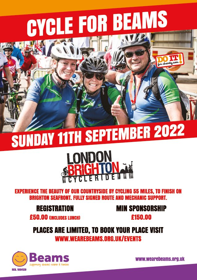 cycle for We Are Beams and help raise vital funds.